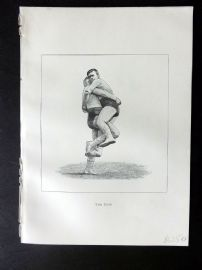 Badminton Library 1889 Wrestling Print. The Hipe
